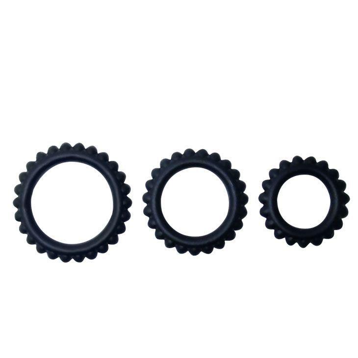 Эрекционные кольца: Набор из 3 ребристых эреционных колец TITAN