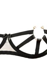 Эротический черный комплект белья с ремешками