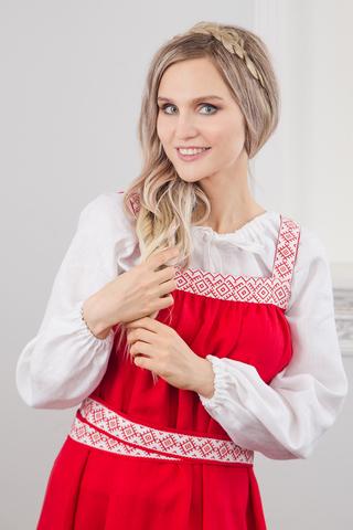 Красный русский-народный сарафан Иванка