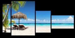 """Модульная картина """"Шезлонги на пляже"""""""