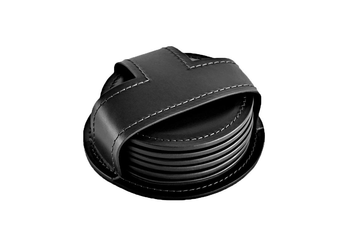Набор костеров (6 шт) из кожи Full Grain Black/ черный