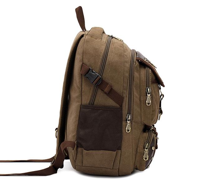BAG388-2 Мужской повседневный рюкзак цвета хаки из прочной ткани фото 02