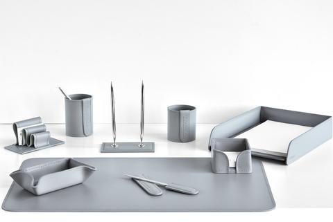 Настольный набор офисный 9 предметов из кожи, цвет серый
