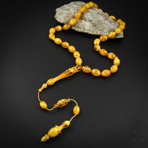 Чётки имитация янтаря (бакелит) 33 бусины крупные