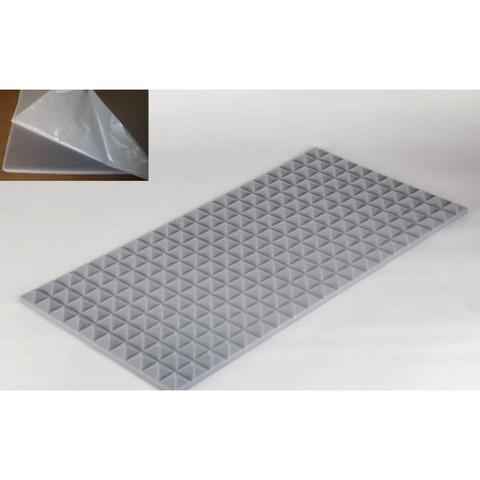 негорючая  акустическая панель  Пирамида ECHOTON FIREPROOF 100x50x3cm  из материала  BASOTECT серый  с адгезивным  слоем