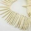 Бусина Говлит (искусств, тониров), продолговатая, цвет - молочный, 20-48х4-5 мм, нить