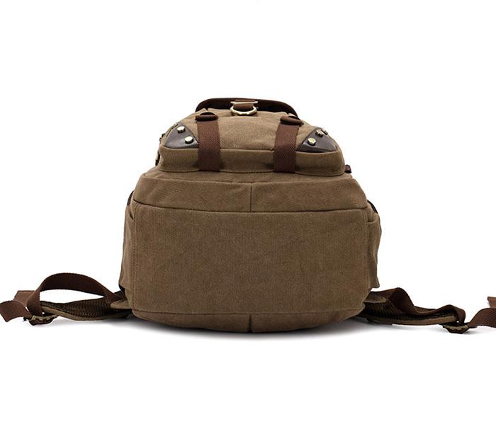 BAG388-2 Мужской повседневный рюкзак цвета хаки из прочной ткани фото 03
