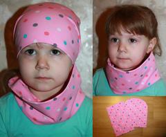 """Шапка детская  """"Комплект 2в1 с Хомутом"""" Горох-Разноцветный - Розовая"""