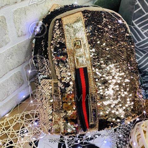 Рюкзак с пайетками меняющий цвет Кофейный-Серебристый с молнией LOLA маленький