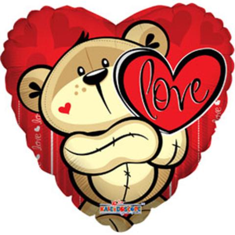 Фольгированный шар Любовь Медвежонок с сердцем 18