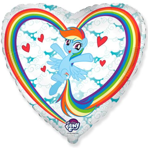 Фольгированное сердце Пони в Облаках