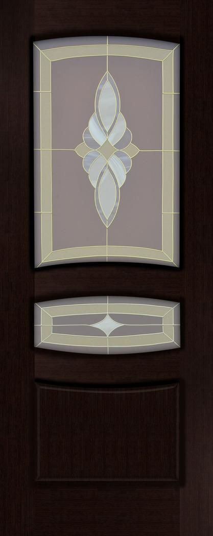 Дверь межкомнатная,Россич Персей ДО, Витраж Юлия , Цвета: Красное дерево