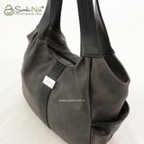 Сумка Саломея 890 итальянский серый + черный