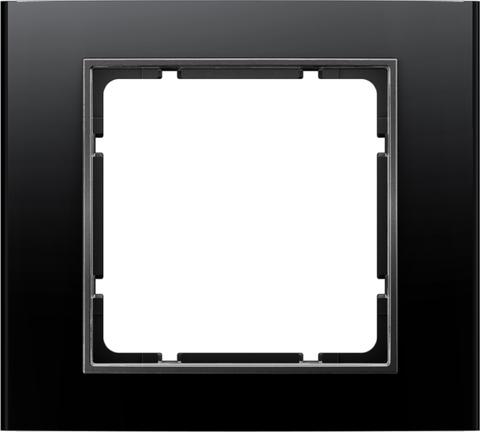 Рамка на 1 пост алюминий. Цвет Чёрный/Антрацит. Berker (Беркер). B.3. 10113005