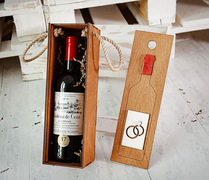 BOX260-2 Коробка для винной церемонии на свадьбу (33*10*10,5 см)