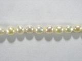 Бусина из жемчуга пресноводного культивированного белого, класс А, фигурная, овал гладкий 4-5мм (рис)