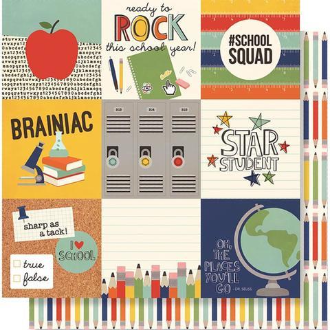 "Лист двусторонней бумаги 30х 30 см -Simple Stories  School Rocks!- 4""X4"" Elements"