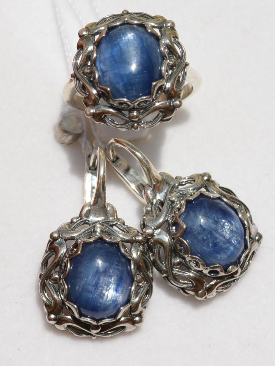 Лафар-кианит(кольцо + серьги из серебра)