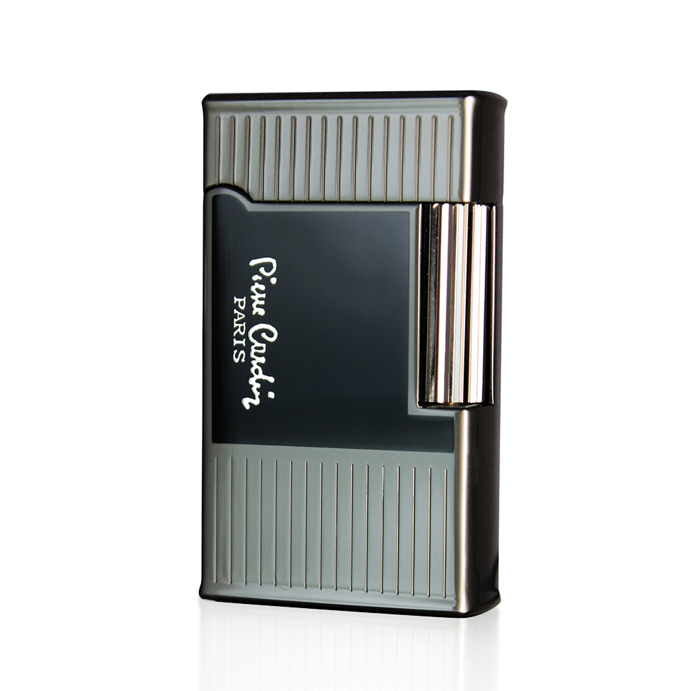 Зажигалка Pierre Cardin кремниевая газовая, цвет темная бронза/черный лак с гравировкой, 3,0х1,0х5,2