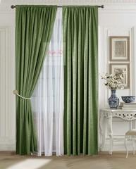 Комплект штор Лоран (темно-зеленый). Шторы из стриженного бархата.