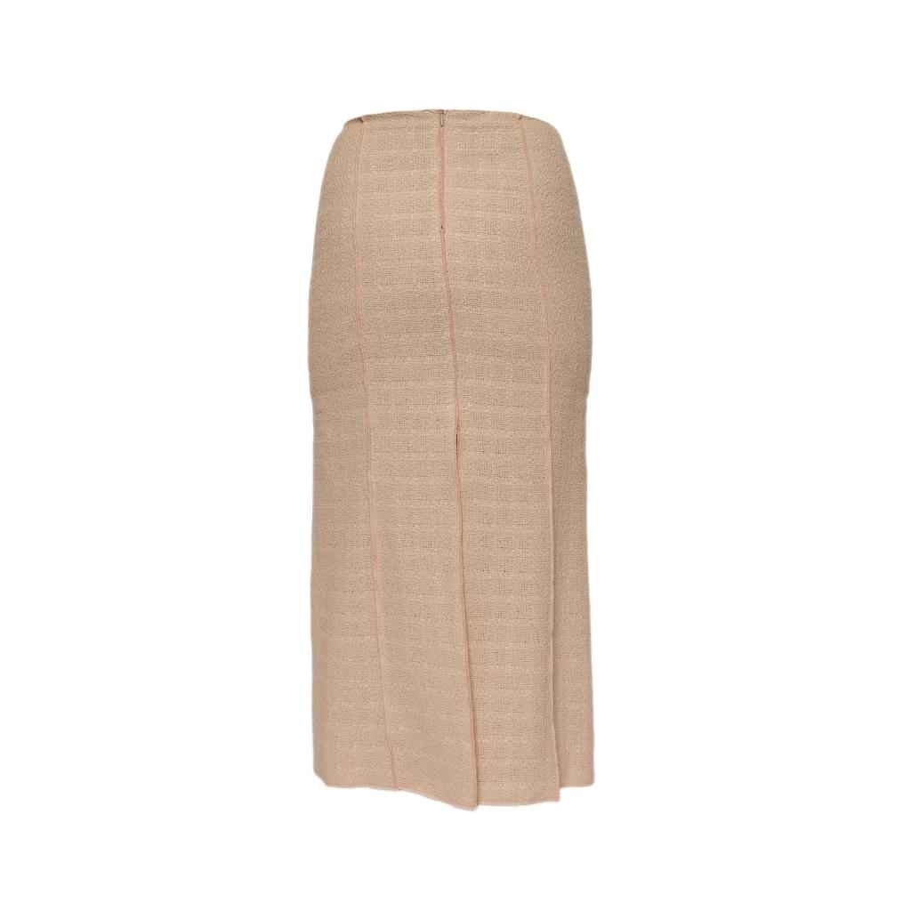 Классическая юбка в пол из твида нежно-бежевого цвета от Chanel, 34 размер.