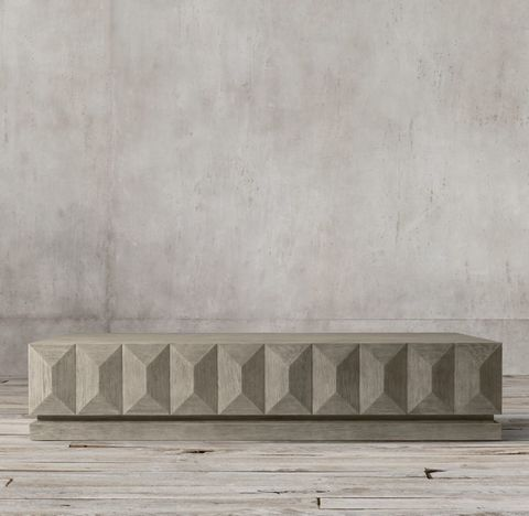 Geometric Faceted Large Rectangular Coffee Table