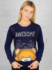 K031-5 футболка женская дл. рукав, темно-синяя