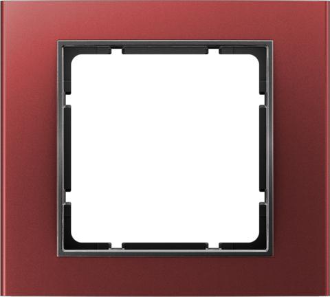 Рамка на 1 пост алюминий. Цвет Красный/Антрацит. Berker (Беркер). B.3. 10113012