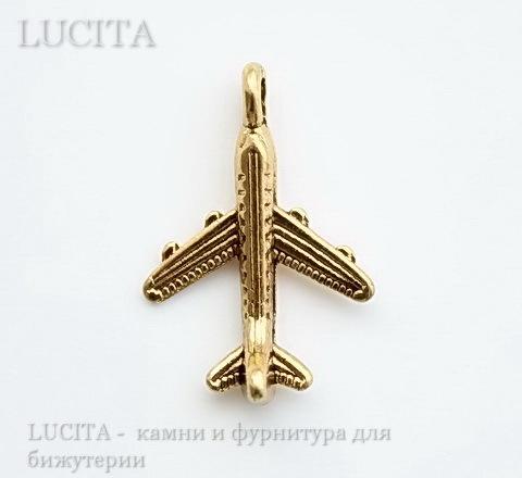 """Подвеска 3D """"Самолет"""" 20х15 мм (цвет - античное золото)"""
