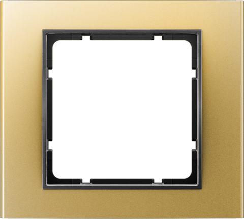Рамка на 1 пост алюминий. Цвет Золотой/Антрацит. Berker (Беркер). B.3. 10113016