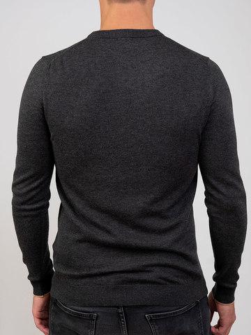 Мужской джемпер темно-серого цвета из шерсти и шелка - фото 4
