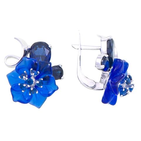 Серьги с цветами из синего кварца и сапфиром Арт.2204сс