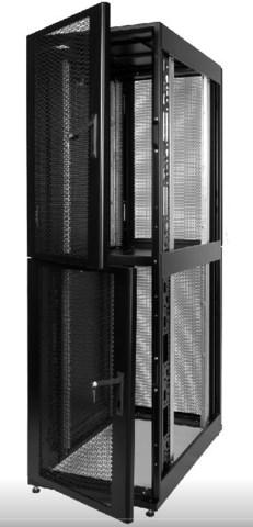 Шкаф ЦМО серверный ПРОФ напольный колокейшн 40U (600 × 1000) 2 секции, дверь перф. 2 шт., чёрный,в сборе