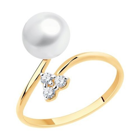 791180 - Кольцо из золота с жемчугом и фианитами