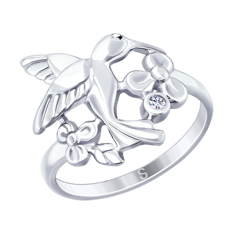 Кольцо с птичкой  колибри из  серебра от SOKOLOV