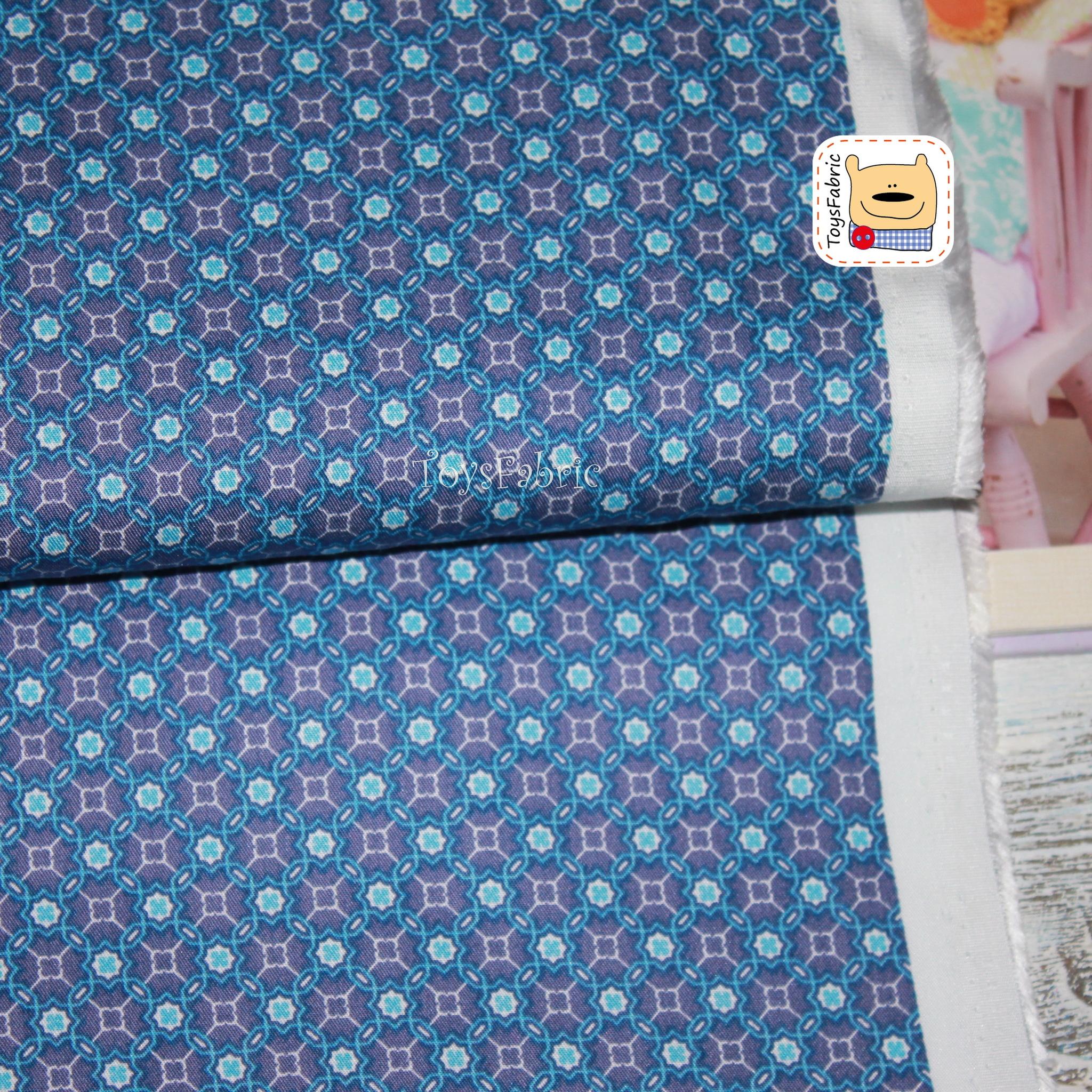 Ткань хлопок сатин корейский 20734 (синий орнамент) 45х55см