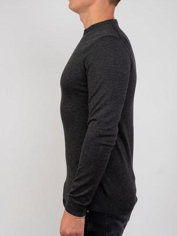 Мужской джемпер темно-серого цвета из шерсти и шелка - фото 3