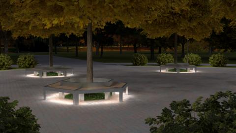 TRIF-MEBEL Скамья шестиугольная СИТИ антивандальная с LED подсветкой
