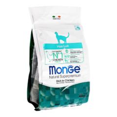 Monge Natural Superpremium Cat Hairball полноценный корм для кошек для выведения шерсти с курицей и рисом  400гр