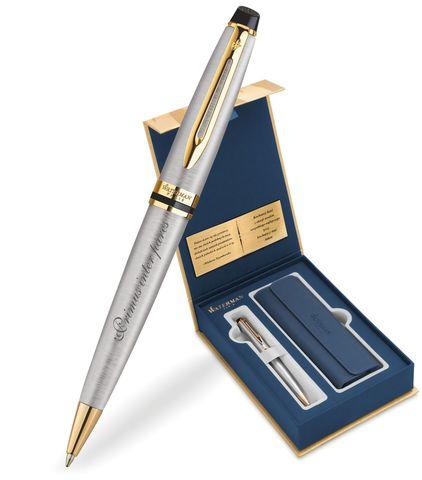 Набор с гравировкой: Чехол и Шариковая ручка Waterman Expert Essential, St. Steel GT