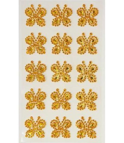 Стразы самоклеющиеся бабочки золотые 15 шт