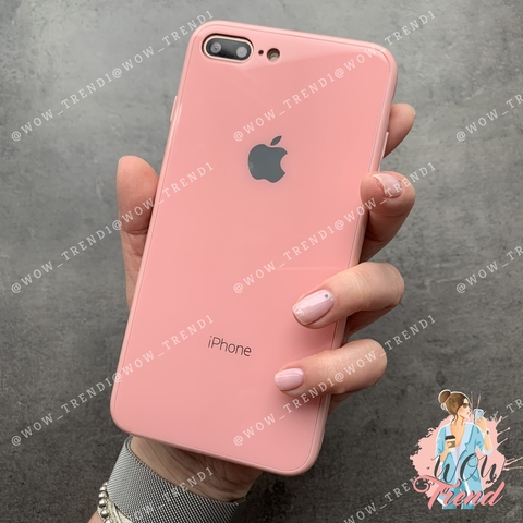Чехол iPhone 7/8 Plus Glass Full color Case Logo /pink/