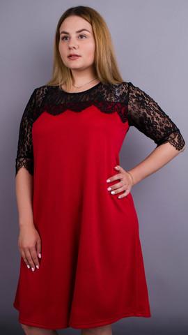 Лайза. Практичное платье больших размеров. Красный.