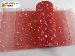 Фатин звездное небо красный ширина 15 см