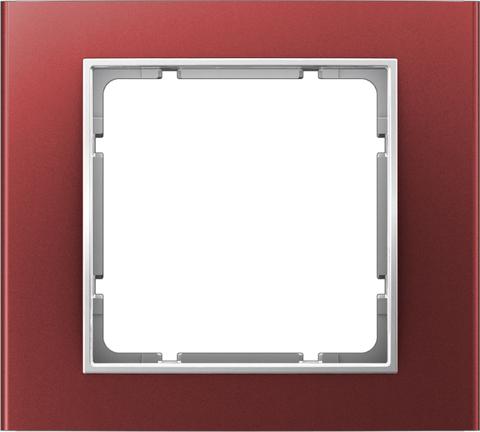 Рамка на 1 пост алюминий. Цвет Красный/полярная белизна. Berker (Беркер). B.3. 10113022