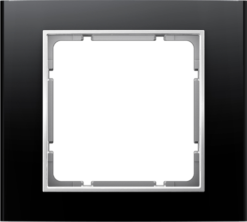 Рамка на 1 пост алюминий. Цвет Чёрный/полярная белизна. Berker (Беркер). B.3. 10113025