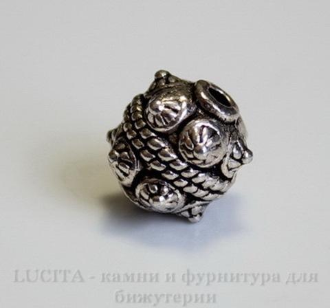 Бусина металлический шарик с шипами (цвет - античное серебро) 11х10 мм