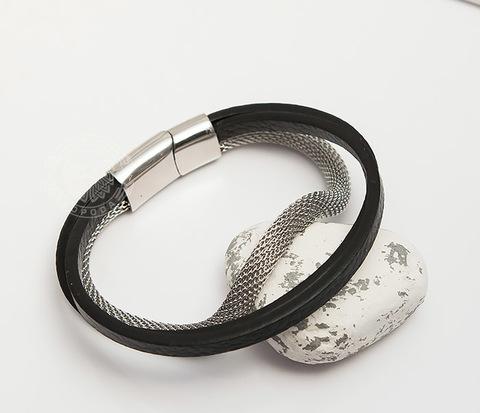 BM427 Мужской браслет из кожи с стальной цепочки