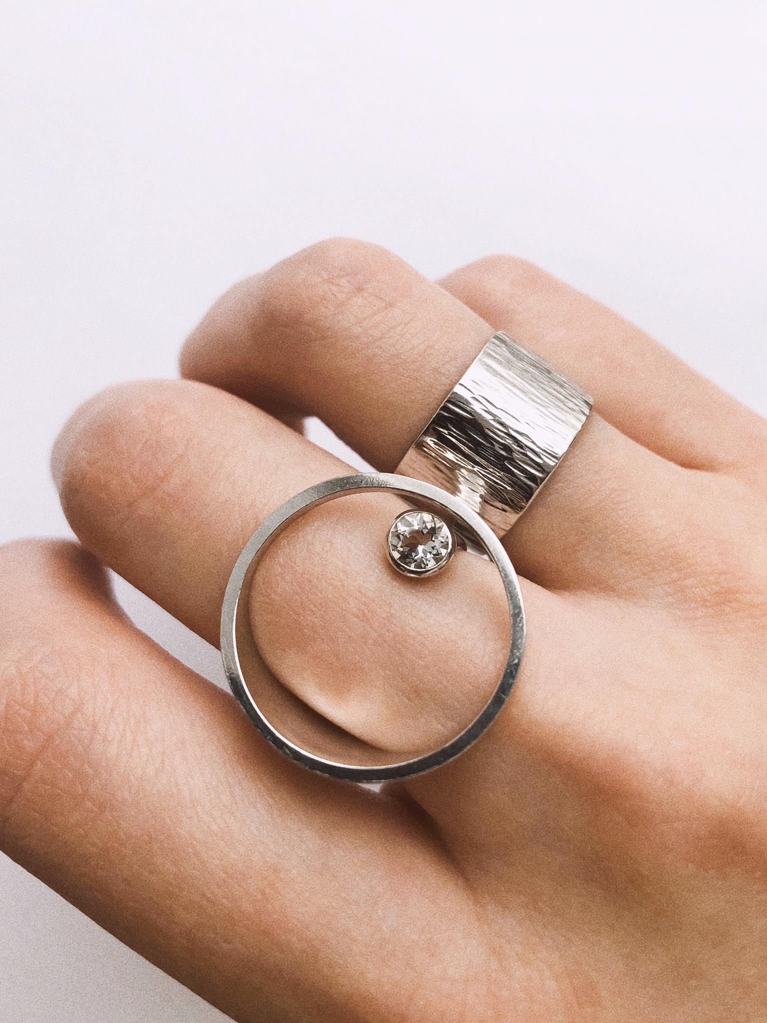 Серебряное кольцо круг с горным хрусталем
