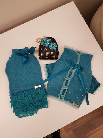 Кардиган Fashionista Mini Cardigan Teal Wool For Pets